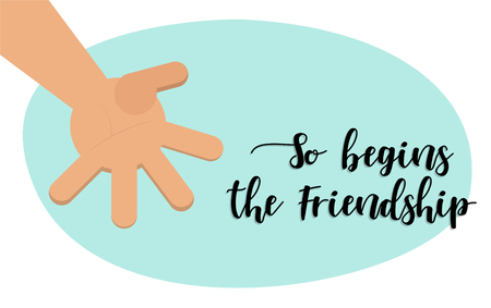 The beginning of friendship. Brotherly handshake. Vector illustration Hand(flat style) for Happy Friendship Day. The outstretched hand as the beginning of friendship! Vector illustration Illustration