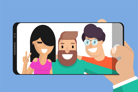 Celebrating friendship day concept. A group of three friends makes a photo - selfie. cartoon characters in flat style. Taking a selfie. Happy friends together illustration for greeting card. Vector Vetores