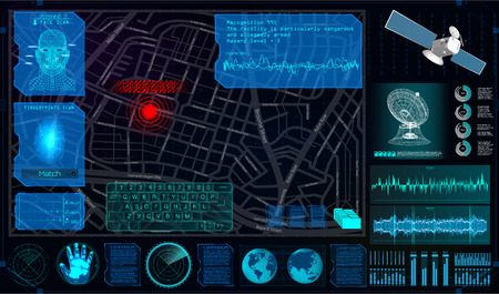 Search and Track a Person From Space in the Style of HUD. Search and Recognition on the Map and Demonstration on The Map. Tracking the Program for Espionage. Spyware In HUD Style. Vector Illustration