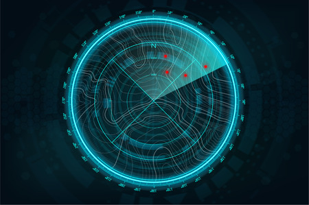 Radar Screen in futuristic style. Air search HUD gadget. military search, system . navigation interface wallpaper. Vector illustration gui