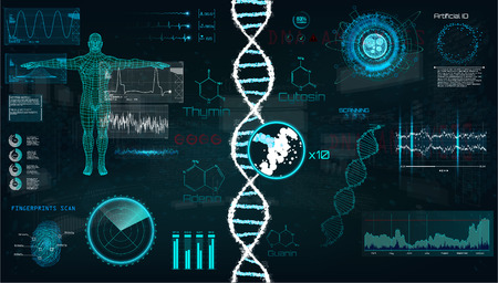 HUD, DNA infographic interface. Interface, vector graphic, medical, heart, bpm, body scan, dna, graphs, diagrams, futuristic design. Modern medical Examination in HUD style. Vector UI template set