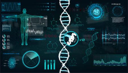 HUD, interfaz de infografía de ADN. Interfaz, gráfico vectorial, médico, corazón, bpm, escaneo corporal, adn, gráficos, diagramas, diseño futurista. Examen médico moderno en estilo HUD. Conjunto de plantillas de interfaz de usuario de vector