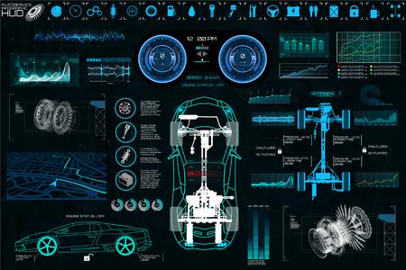 Auto serwis samochodowy, nowoczesny wygląd HUD, diagnostyka auto (widok z góry) Wirtualny interfejs graficzny w nowoczesnym stylu (infografika, automatyczne skanowanie, analiza i diagnostyka) Elementy zestawu wektorów HUD Ilustracje wektorowe