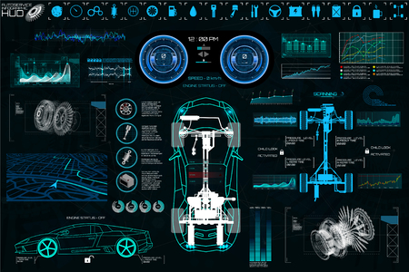 Car Auto Service, Modern Design HUD, Diagnostic Auto (view from above) Virtual Graphical Interface in Modern Style (Infographics, Auto Scanning, Analysis and Diagnostics) HUD Vector Set Elements Vettoriali