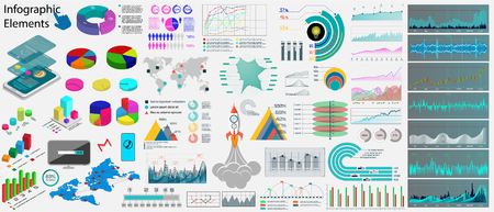 Collection business infographics elements ( data, infographics, statistic, information, diagrams, world map, icons) Big Collections, website and presentation template. Set Vector elements