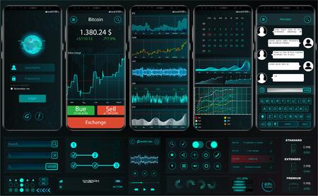 거래 플랫폼 용 인터페이스 앱 템플릿입니다. UI, UX, 키트. 성공적인 거래를위한 전문 트레이더 도구. 전화 화면에서 거래 교환 앱. 모바일 뱅킹 암호 화폐 UI. 벡터 설정 요소