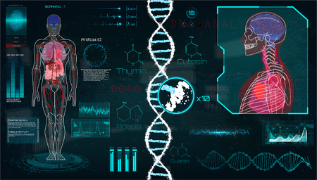 Interfaz de usuario Head Up Display (HUD) para aplicación médica, interfaz HUD médica futurista, interfaz de usuario táctil gráfica virtual con ilustración de escaneo cerebral, escaneo cardíaco, ADN, cuerpo humano, estadística y electrocardiograma Ilustración de vector