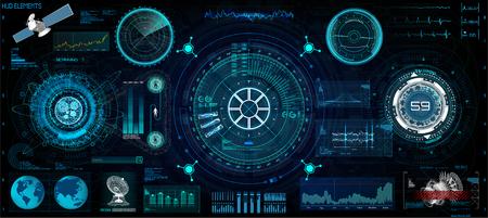 GUI、UI、UXデザイン用のヘッドアップインタフェースセット。HUDスタイル、技術要素セット(スペース、ダッシュボード、ホログラム、宇宙船、医学、金融、分析)コックピット宇宙船HUD UIスタイルからの眺め 写真素材 - 108958300