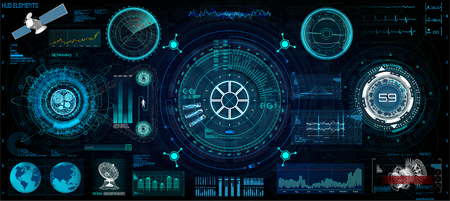 Head-Up Interface set for GUI, UI, UX design. HUD style, Technology elements set (space, dashboard, hologram, spaceship, medicine, finance, analytics) View from the cockpit spaceship HUD UI style Banco de Imagens - 108958300