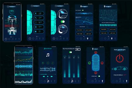 Control Car App. Mobile Schnittstellenbildschirme zur Bedienung des Fahrzeugs. Das Smartphone steuert die Fahrzeugsicherheit über das WLAN und zeigt dem Besitzer die Daten, die Schutzstufe und den Status des Autos an. IOT Vektorgrafik