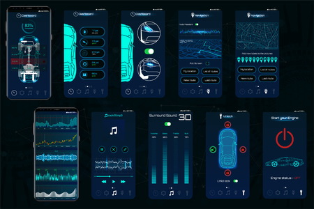 Control Car app. Mobile interface screens to operate the car. The smartphone controls the car security on the wireless and shows the data to the owner, the level of protection, state of auto. IOT Illustration