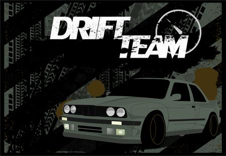 Un banner sporco, sfondo auto in stile grunge. Modello con un'auto in tema di derapata, corse, salone dell'auto. Illustrazione vettoriale, stile moderno. Vecchia auto Banner