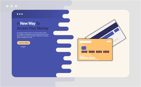Credit card advertising vector illustration. Design for Landing Page. Contactless bank credit (debit) card promotion creative concept. Vector illustration in flat style. Modern design