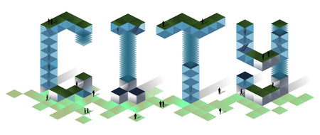 City 2019 concept 3D isometric illustration Business, construction, growth success concept . 3d rendering. Vector illustration of a city-text