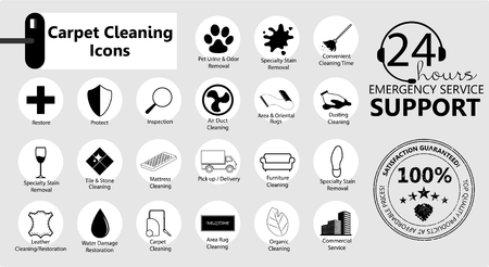 Carpet cleaning, Service icons set, emblems for a business. Carpet cleaning. Vector icons set