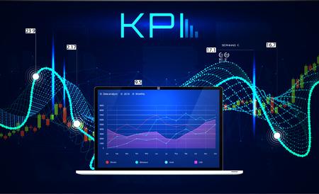 KPI (Key Performance Indicators), Business analytics concept, metrics to measure achievement versus planned target. Vector illustration, KPI Banner 向量圖像