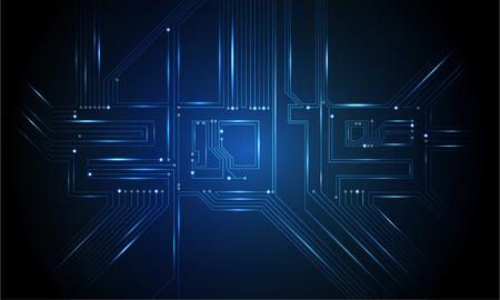 Circuit Board 2019, tecnologia CPU, interfaccia a microprocessore. Sfondo vettoriale futuristico. Numero di circuito digitale concetto. Illustrazione PCB Felice Anno Nuovo 2019 Vettoriali