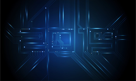 Placa de circuito 2019, tecnología CPU, interfaz de microprocesador. Fondo de vector futurista. Concepto digital de número de circuito. Ilustración de PCB Feliz año nuevo 2019 Ilustración de vector