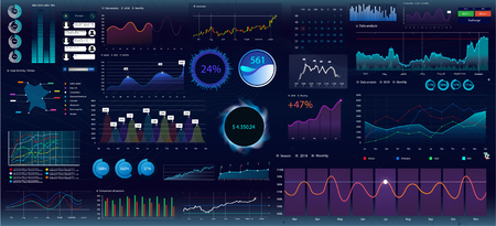 Colorful infographic elements. Statistic and data, graphs and finance infographic, charts data visualization, economic indicators for your project. Template Vector Collection. UiUXKit interface