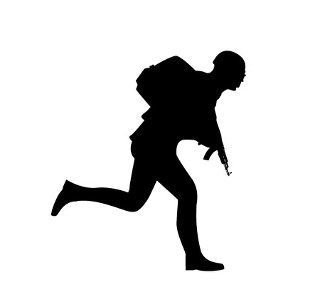 Silhouette of a running soldier, in uniform with weapons and the inscription, playerunknowns battleground. Vector illustration Illusztráció