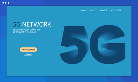 5G technology background. Template web page, isometric 5G. New generation mobile networks and internet. 3D vector illustration Illustration