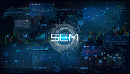 SCM - Supply Chain Management. Supply Chain Management. SCM  Aspects of Modern Company Logistics Processes On a Schematic Map. Vector illustration SCM