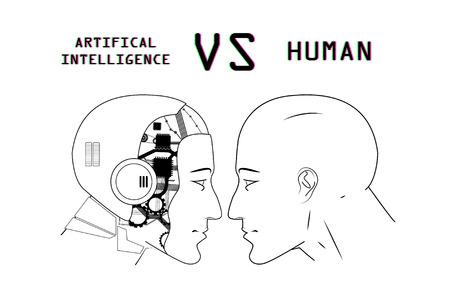 Humans vs Robots. AI artificial intelligence versus human intelligence. Face to face, duel of views. Vector illustration cartoon, clip art, sketch