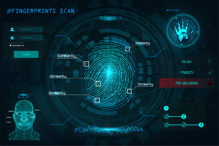 Fingerprint Scanning Identification System in HUD style, Biometric Interface, Recognition Biometric Technology and Artificial Intelligence Concept. Scanning: Fingerprints, Voice, Palm and Face. HUD UI Stock Illustratie