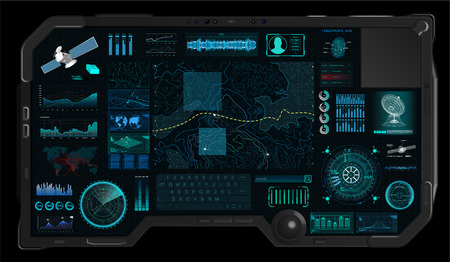 Command Center Screen in HUD style. Topographic Map, Contour. Futuristic Interface Elements and Earth Landscape Scanning. Concept of a Conditional Geography Scheme in HUD Style. Vector Elements Set Illustration
