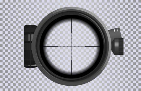 Scharfschützen-Zielfernrohr im realistischen Stil. Optisches Visier für Ihr Projekt. GUI-Element. Vektor-Gaming-Vorlage. Militär und Waffe. Vektorgrafik