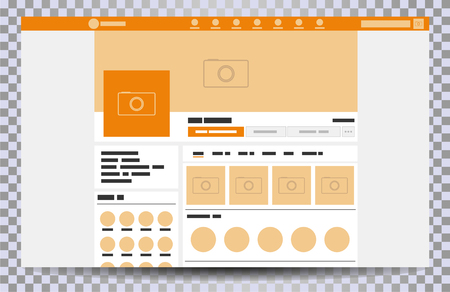 Mock up web page browser, concept of social page Interface on the laptop, social media vector illustration template Vectores