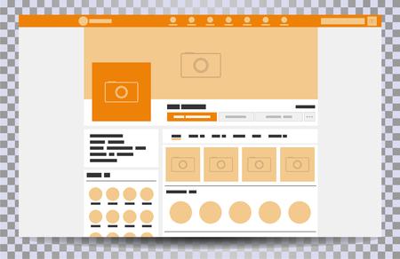 Navigateur de pages Web maquette, concept d'interface de page sociale sur l'ordinateur portable, modèle d'illustration vectorielle de médias sociaux
