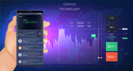 Crypto online commerce. Forex Banner. Mining bitcoin technology on autonomic computing program and trade platform. Trading design in awesome really style.