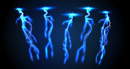 Electricity lightning thunderbolt vector realistic isolated thunder light on transparent background