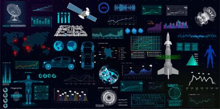 Hightech elements set, HUD UI style. Futuristic user interface big collection( 3d elements, spaceship, radar, forex, medical, navigation, maps, gui, space) Big HUD collection Illustration