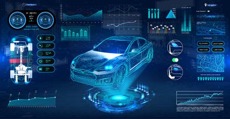Diagnostyka systemu innowacji Auto w stylu HUD UI. Futurystyczny serwis samochodowy, skanowanie i automatyczna analiza danych. Auto Auto Serwis, Nowoczesny Design, Auto Diagnostyka. HUD wirtualnego interfejsu graficznego. Wektor