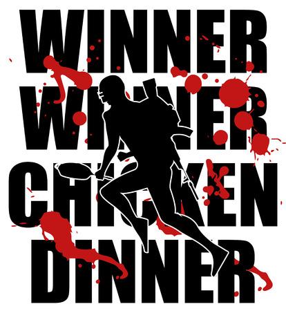 Silhouette of a running soldier,  Vector illustration logo and text Winner winner chicken dinner. Illustration