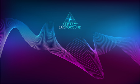 Amplitude Abstract Background with a colored dynamic waves. Abstract soundtrack wave energy background or digital music beat tracking technology color visualization vector illustration