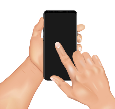 Vector 3d realistic human hand holding smartphone and touching screen. Template, mock up for mobile app or advertisment. Isolated device and hands. Template 3d realistic Hands and phone