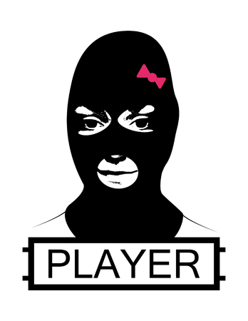 Masked girl, logotype. Girl , player, squad, team logo in game. Battle royale concept
