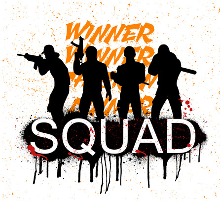 A squad of 4 players. Silhouettes of 4 people in uniform. Vector illustration Squad