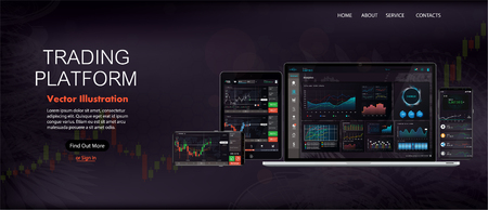 Web Site Screen template. Forex market, news and analysis. Binary option. Application screen for trading. Candles and indicators. HUD UI for business app. Futuristic virtual user interface. Data chart