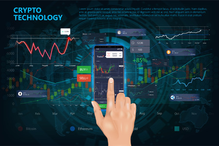 Crypto online commerce. Mining bitcoin technology on autonomic computing program and trade platform. Online trading signals to buy and sell currency on the forex chart concept. Realistic style Illustration