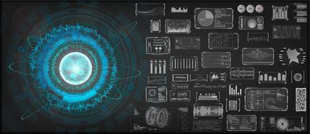 High-tech Design elements set. HUD circular technology concept. Futuristic dashboard elements. Futuristic User Interface, big set. ( graph, waves, arrow, bar regulator, circle, percent) HUD Vector set