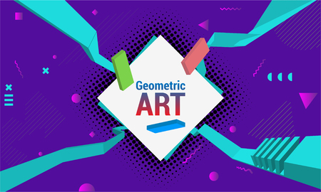 Geometric background. Sports poster with the flat figures. Trendy abstract background. Composition of geometric shapes. Vector illustration