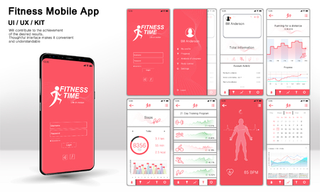 Different UI, UX, GUI screens fitnes app and flat web icons for mobile apps, Fitness application design. Mock up Mobile app. Vector template. Fitness interface design for mobile application