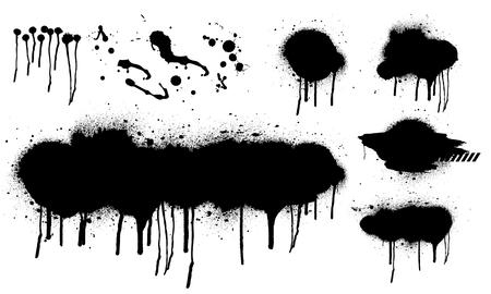 Spray graffiti stencil template. Isolated collection. Black splashes isolated on transparent background. Vector set Spray Illustration