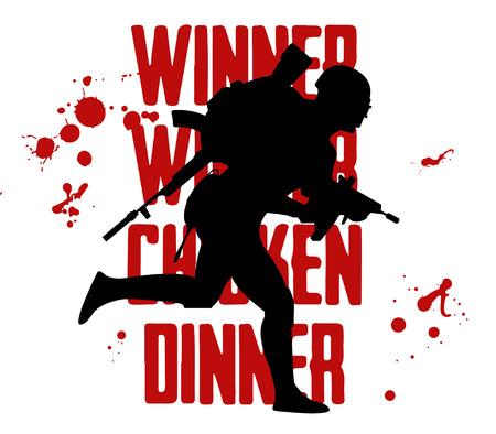 Silhouette of a running soldier in uniform. Vector illustration and text winner winner chicken dinner