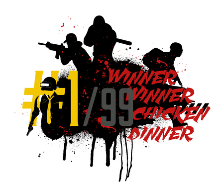 Poster and phrase from the game - winner winner chicken dinner. Vector illustration in grunge style. Game squad concept Illustration