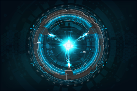 Lightning bolt with technology concept vector. Futuristic mechanisms with Lightning bolt in HUD style. Vector illustration Illustration